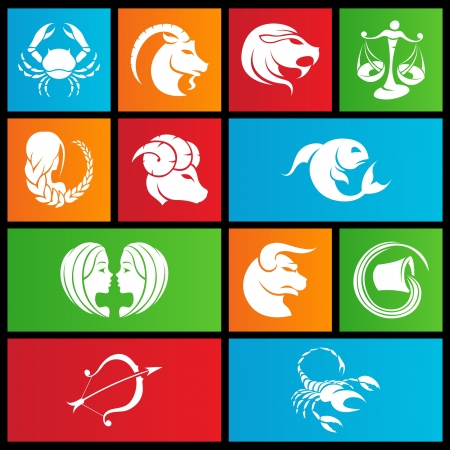 illustration of metro style zodiac star signs