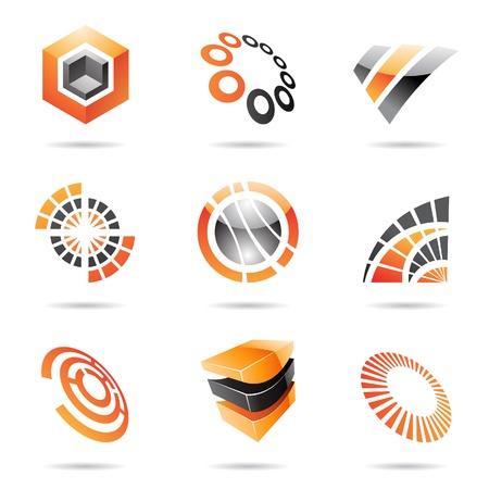 Diverse oranje abstracte pictogrammen geà ¯ soleerd op een witte achtergrond