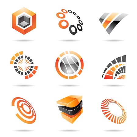 Various orange abstract icons isolated on a white background Illustration