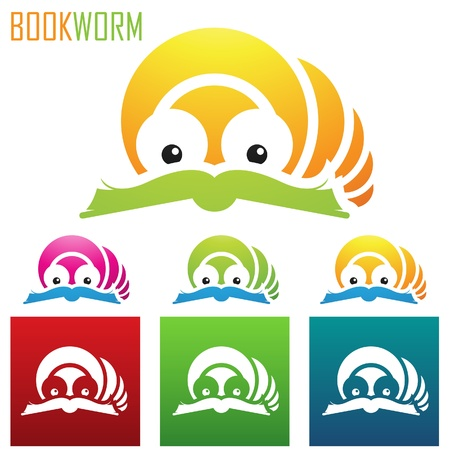 book worm: illustration of book worm icons