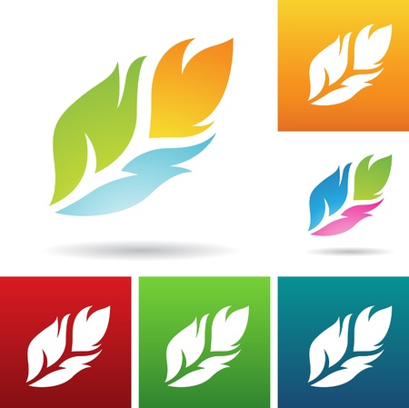 vector eps illustration of colorful feather icons Vector