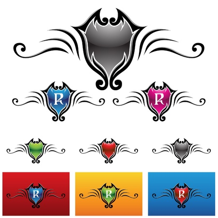 vector eps illustration of colorful royal emblems Stock Vector - 22029194