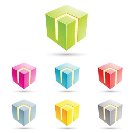 eps vector illustratie van kleurrijke kubiek iconen
