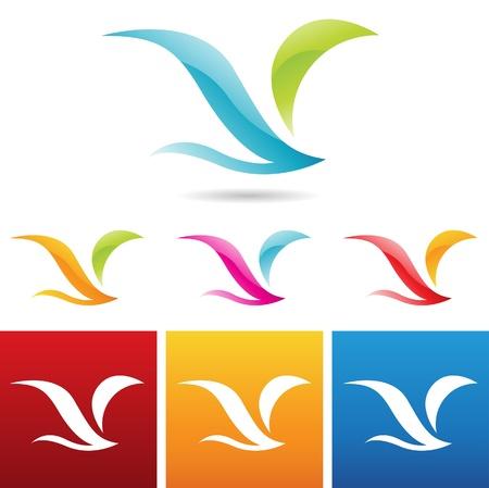 hawks: illustrazione vettoriale di lucido icone astratte di uccelli Vettoriali