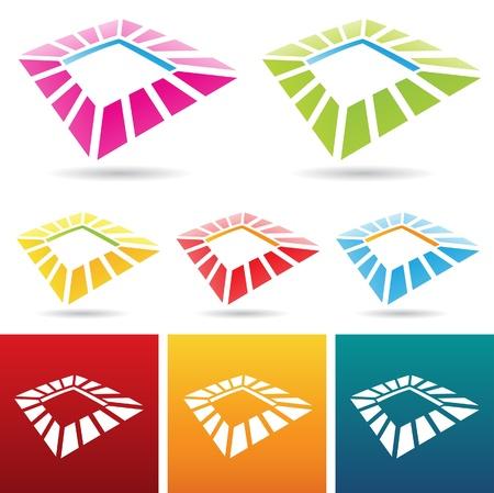 illustration of colorful square frame icons Illustration