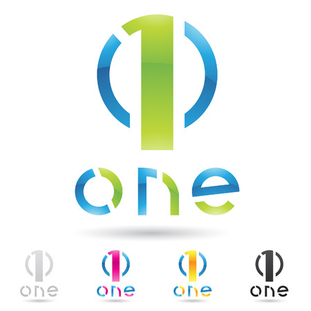 jeden: ilustrace barevné a abstraktních ikon pro nikoho