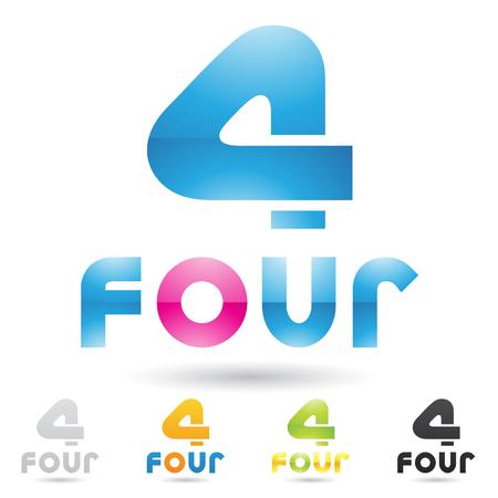 cuatro elementos: Ilustración de iconos coloridos y abstractos para no cuatro