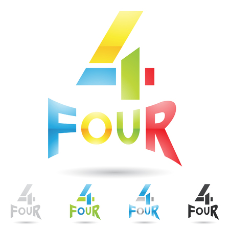 numeric: illustration of colorful and abstract icons for no four