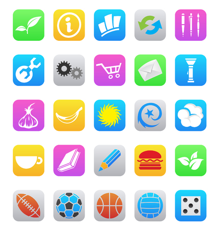 mobile app icons isolated on a white background Çizim