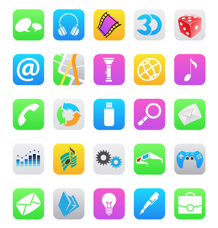 mobile app icons isolated on a white background Stock Vector - 23283686