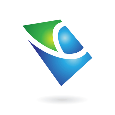 curve line: Blue and Green Shiny Square Abstract Icon Illustration