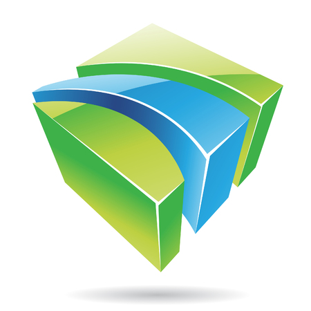 Colorful 3d Cubical Abstract Icon Stock Vector - 23662385