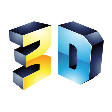 stereoscope: Illustration of 3d Display Technology Symbol isolated on a white background Illustration