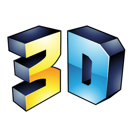 3d dimensional: Illustration of 3d Display Technology Symbol isolated on a white background Illustration