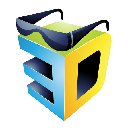 hdtv: Illustration of 3d Display Technology Symbol isolated on a white background Illustration
