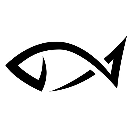 fish head: Illustration of Black Line Fish Icon isolated on a white background