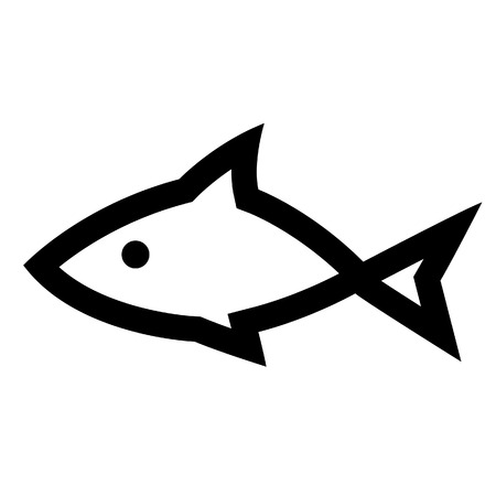 gill: Illustration of Black Fish Icon isolated on a white background Illustration