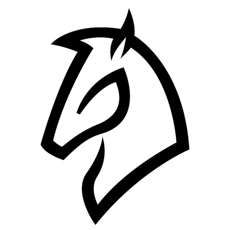 гребень: Иллюстрация Black Horse значок, изолированных на белом фоне