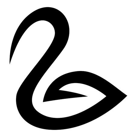 cisnes: Ilustraci�n del Cisne Negro Icono aislado en un fondo blanco