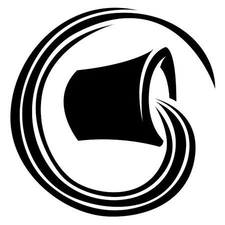 seau d eau: Illustration de noir d'étoile de zodiaque signe isolé sur un fond blanc Illustration