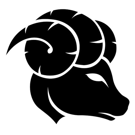Illustration of Black Aries Zodiac Star Sign isolated on a white background Vector