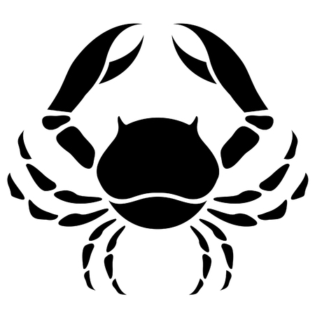 cancer crab: Illustration of Black Cancer Zodiac Star Sign isolated on a white background