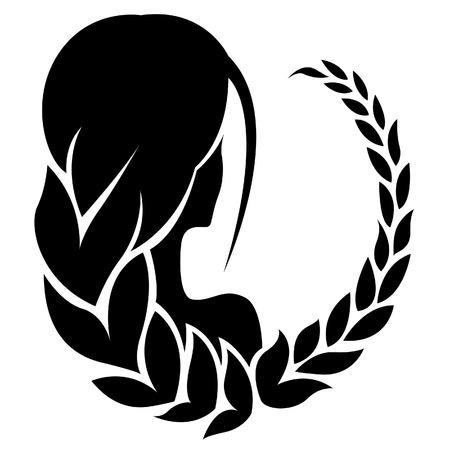 virgo: Ilustración de Negro Virgo Signo del Zodiaco aislado en un fondo blanco