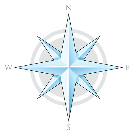 navigate: Illustration of Blue Compass Star isolated on a white background