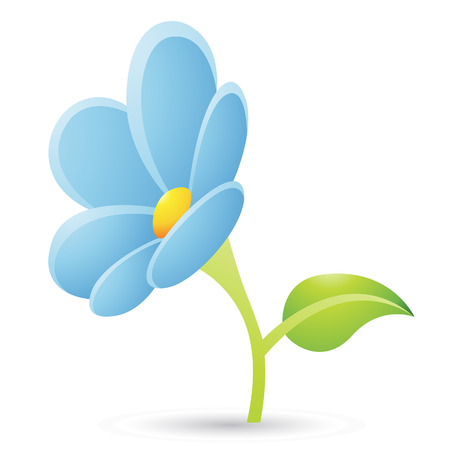 Illustration of Light Blue Flower Icon isolated on a white background Stock Vector - 23638239
