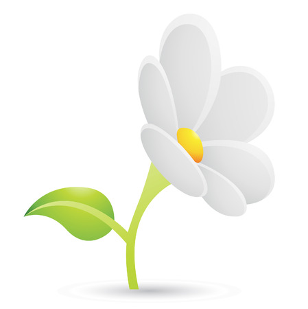 Illustration of White Daisy Flower Icon isolated on a white background Vector