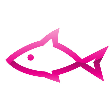 Illustration of Pink Fish Icon isolated on a white background Vector