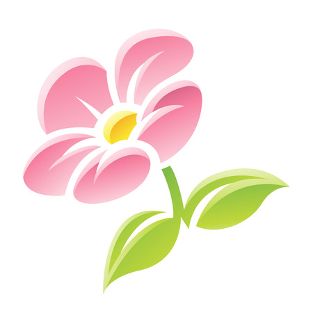 Illustration of Pink Flower Icon isolated on a white background Stock Vector - 23638124