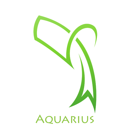 simplistic: Illustration of Simplistic Lines Aquarius Zodiac Star Sign isolated on a white background Illustration