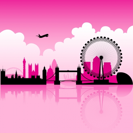 london tower bridge: Illustration of London Magenta Skyline and a cloudy background