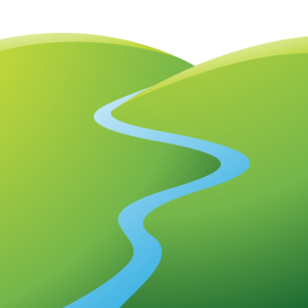 Illustratie van Green Hills en Blue River geïsoleerd op een witte achtergrond