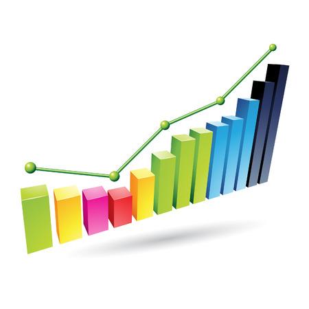 カラフルな統計グラフ、白い背景で隔離のイラスト  イラスト・ベクター素材