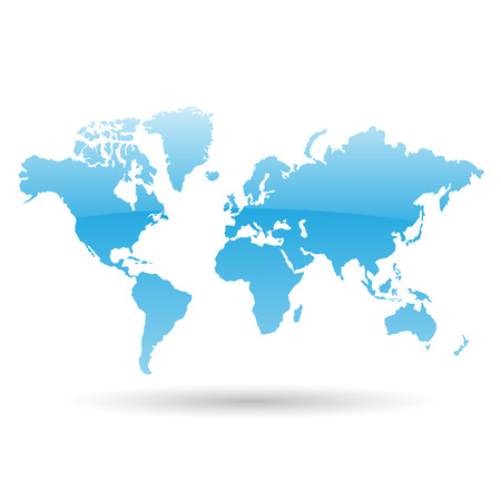 Illustration of Blue World Map isolated on a white background Vector