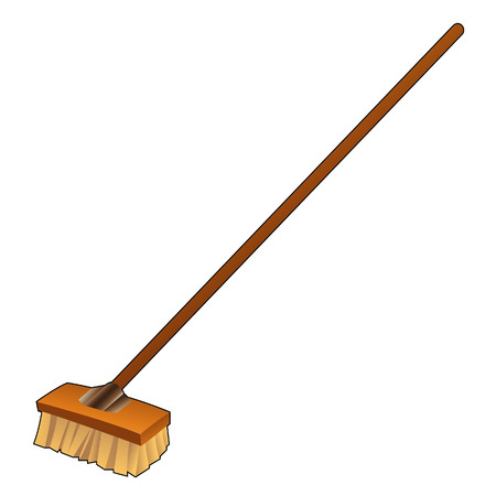 Illustration of DIY item, Cartoon Broom isolated on a white background Vector