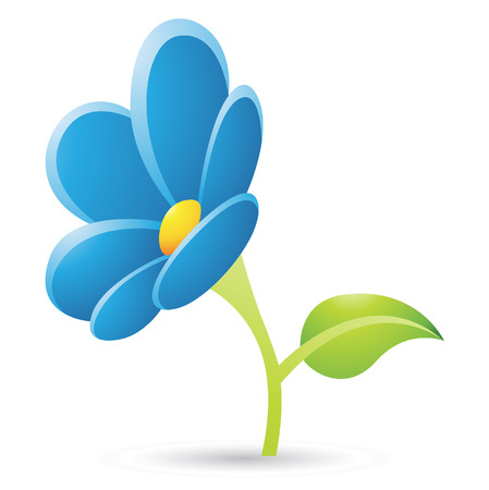 Illustration Of Blue Flower Icon Isolated On A White Background Vector