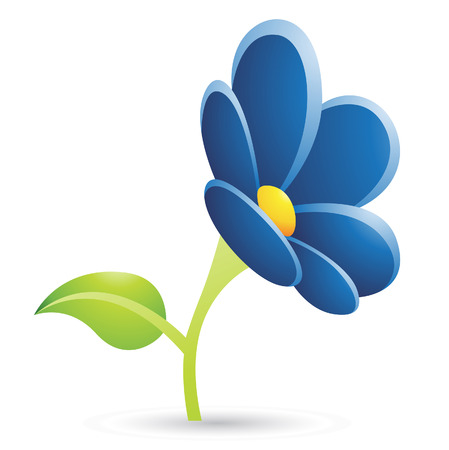 Illustration of Dark Blue Flower Icon isolated on a white background Stock Vector - 23638055