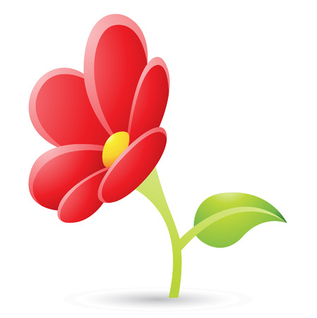 Illustration of Red Flower Icon isolated on a white background Stock Vector - 23638059
