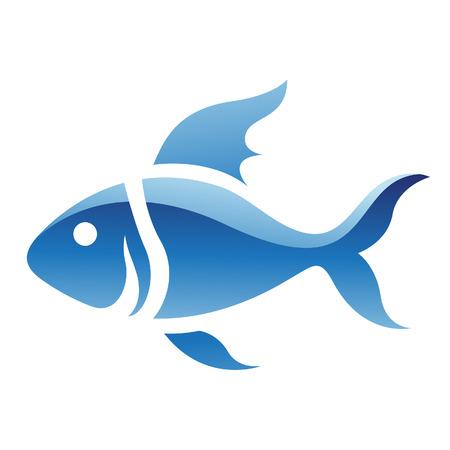 vis: Illustratie van Blue Fish pictogram geïsoleerd op een witte achtergrond Stock Illustratie