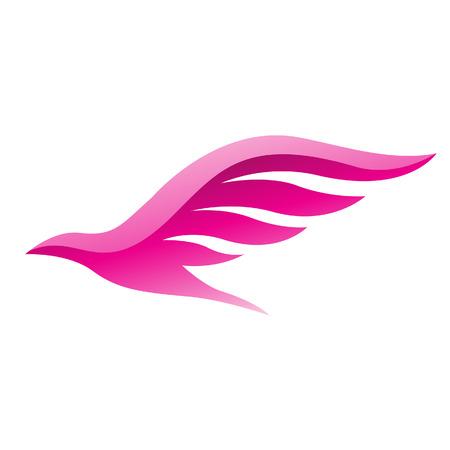 Illustratie van Magenta Bird pictogram geïsoleerd op een witte achtergrond