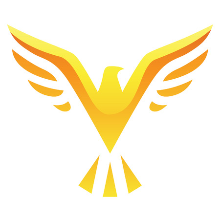 eagle head: Illustration of Yellow Bird Icon isolated on a white background