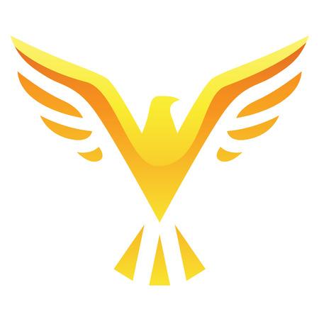 adler silhouette: Illustration von Yellow Bird-Symbol auf einem wei�en Hintergrund