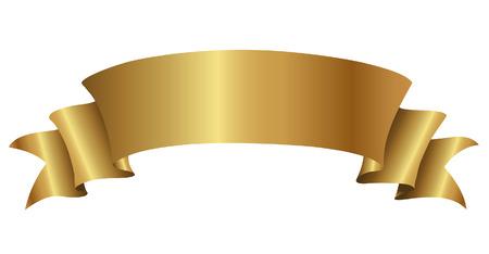 Illustratie van Golden Curly Banner geïsoleerd op een witte achtergrond Stockfoto - 23638032