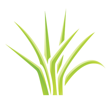 Illustration of Green Glossy Grass Icon isolated on a white background Vector
