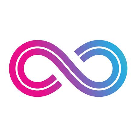 infinito simbolo: Ilustración del símbolo del infinito del diseño aislado en un fondo blanco