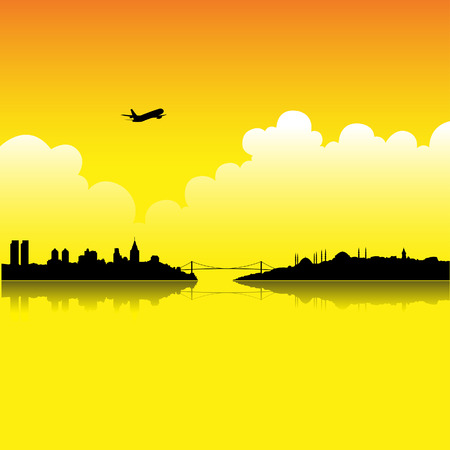 turkey istanbul: Illustration of Istanbul at Sunset isolated on a white background
