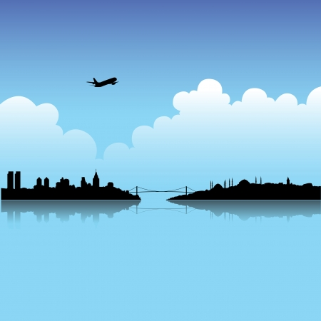 Illustration of Istanbul and Blue Sky background Vector